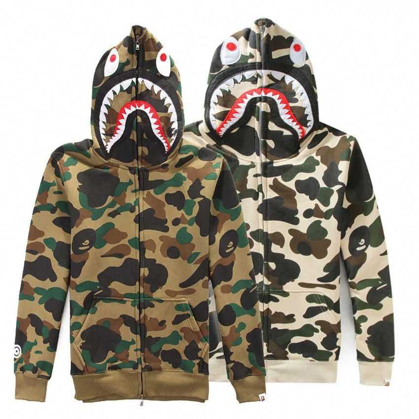 a9cf64c4eacb Bape A Bathing Ape Hoodie Jacket Full Zip Coat Shark Head Camo Cotton  Sweater