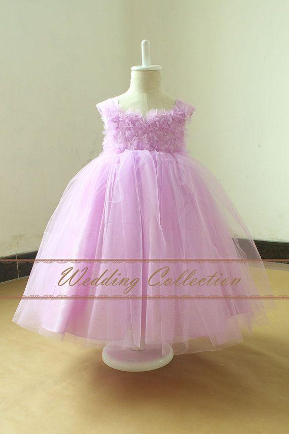 Niña vestido de flores púrpura claro por Weddingcollection en Etsy ...