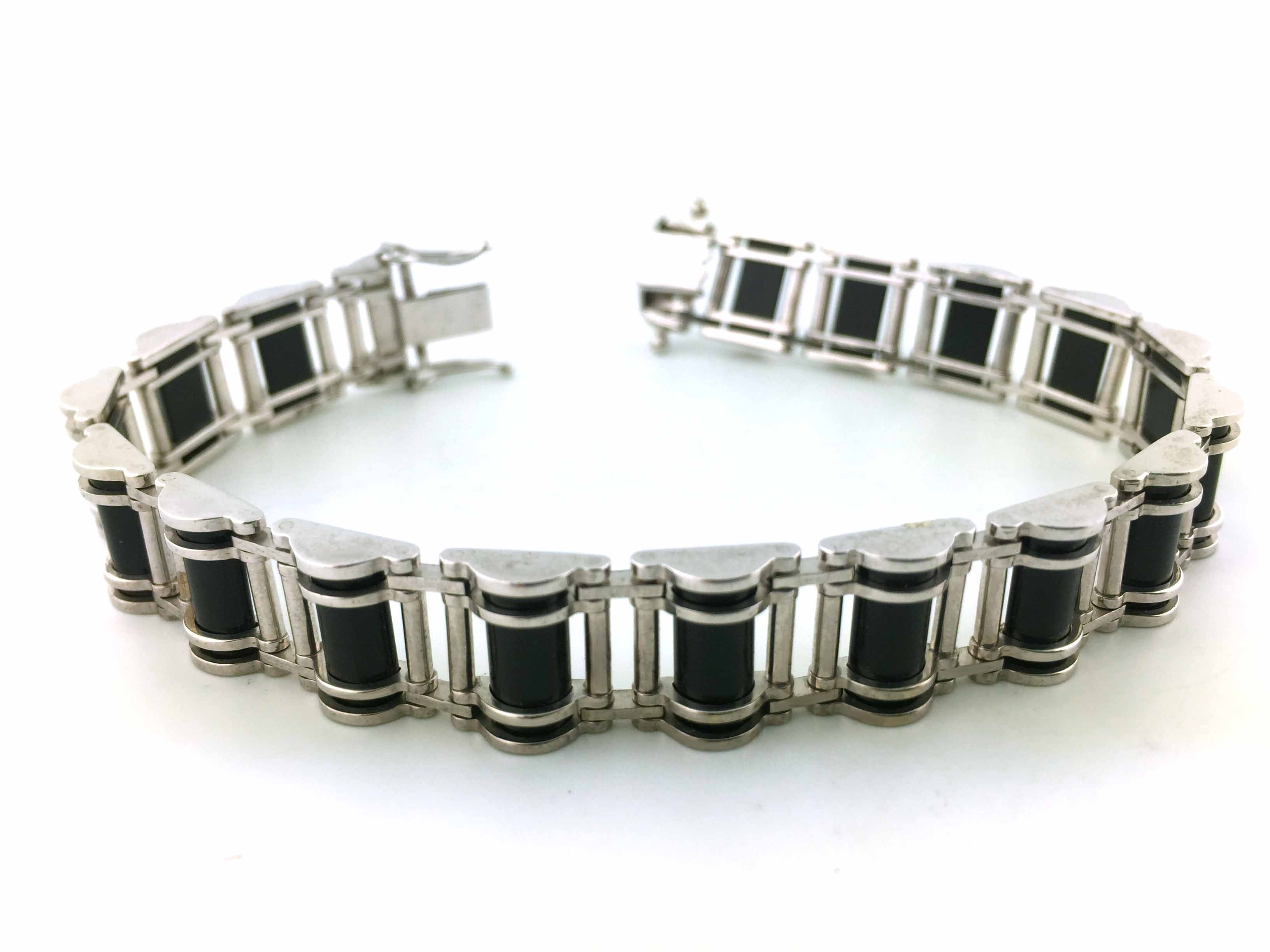 Product Code Iib0016 10k White Gold Mens Bracelet With Black Onyx Gender Men Metal Purity Total Weight 29 8 Gms Rox Price