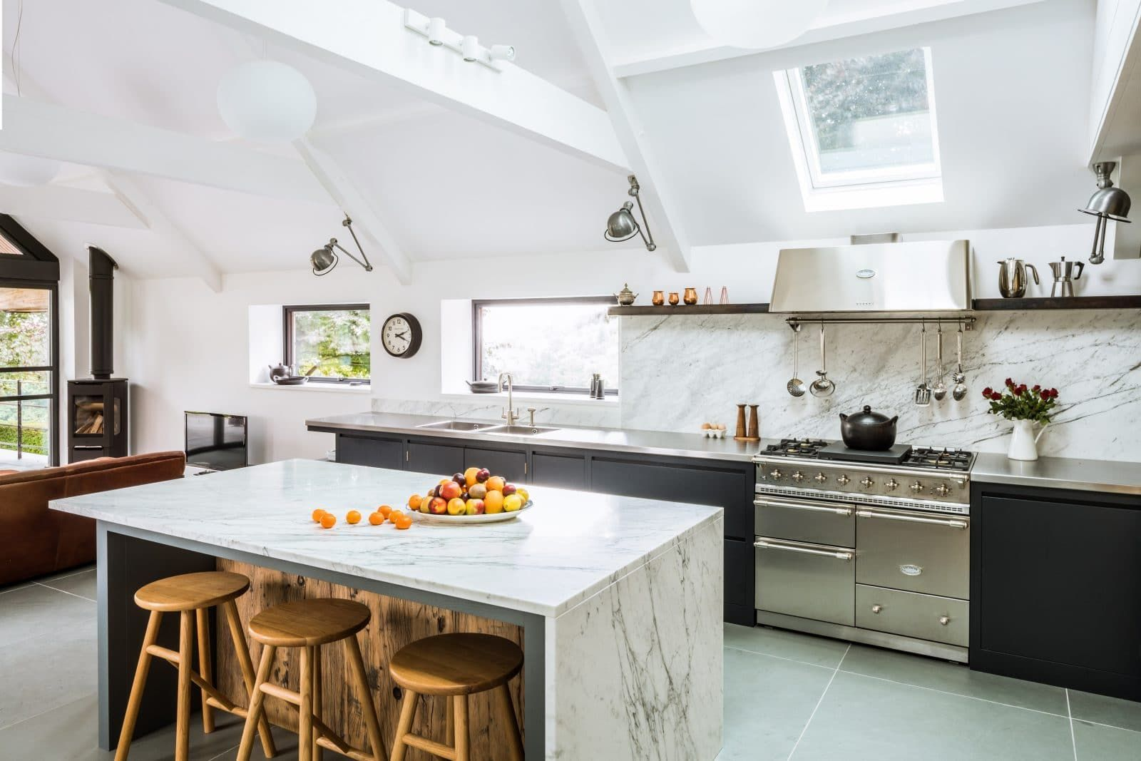 Steel and Marble Kitchen with Reclaimed Wood Feature | Stainless ...