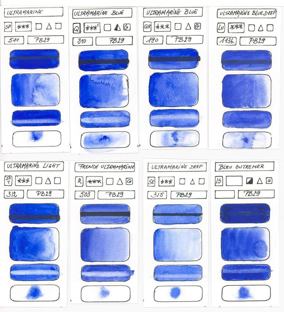 Blue Watercolor Paints According To Single Blue Pigments Blue