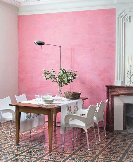 Pink wall: You know this is bound to happen in an apartment where ...