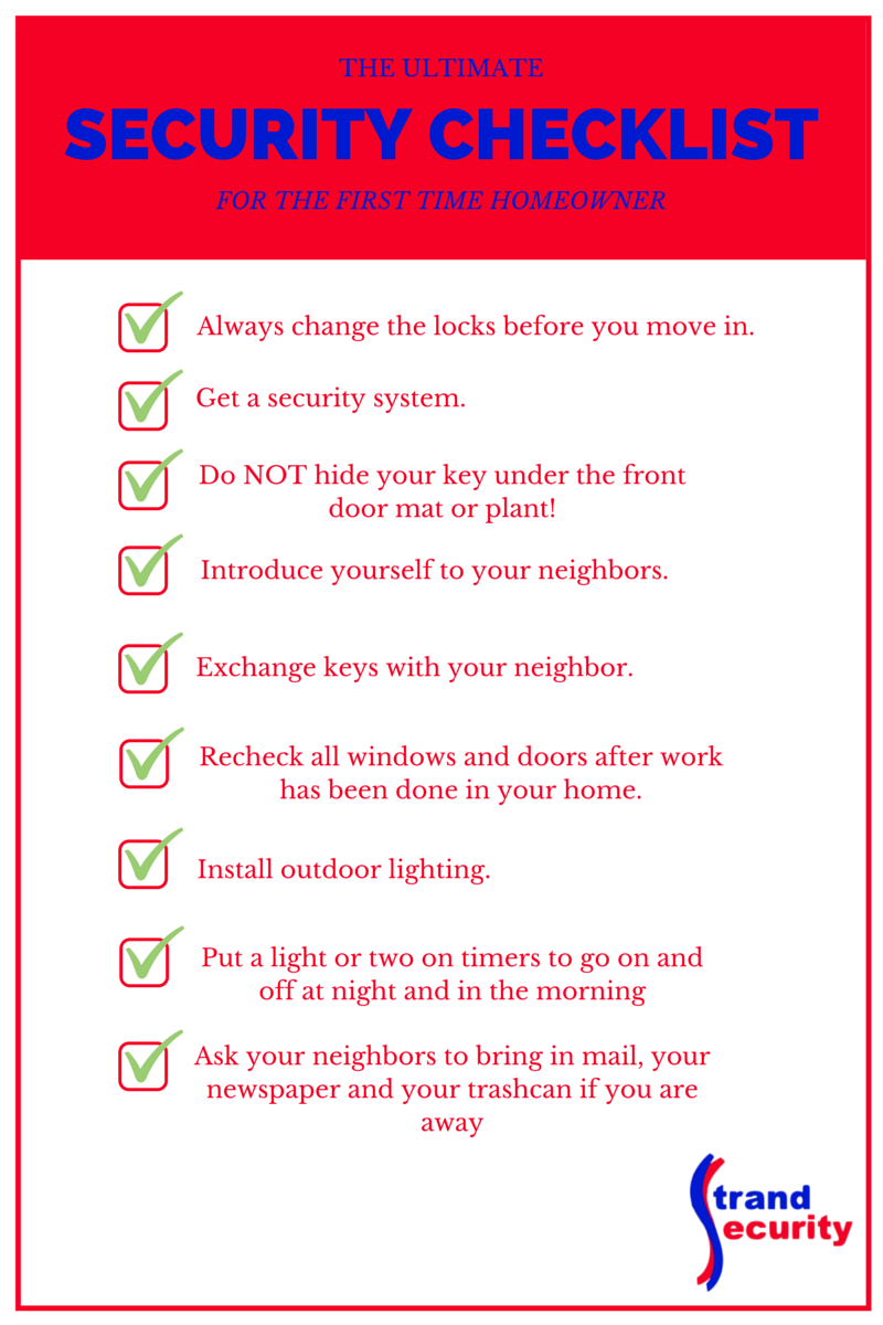 Security Checklist For The First Time Homeowner Homeowner Home Automation Security