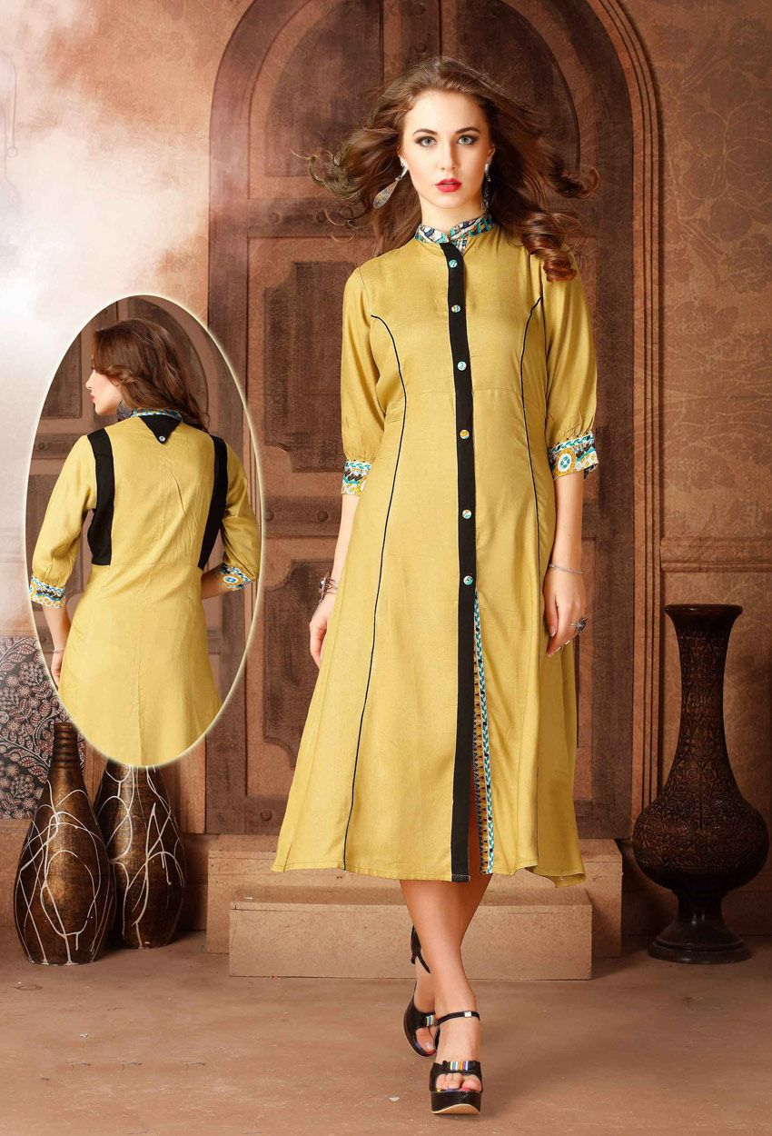 9aec6fb28d #Readymade #Butter #Scotch #Cotton #Long #Kurti #nikvik #usa #designer # australia #canada #freeshipping