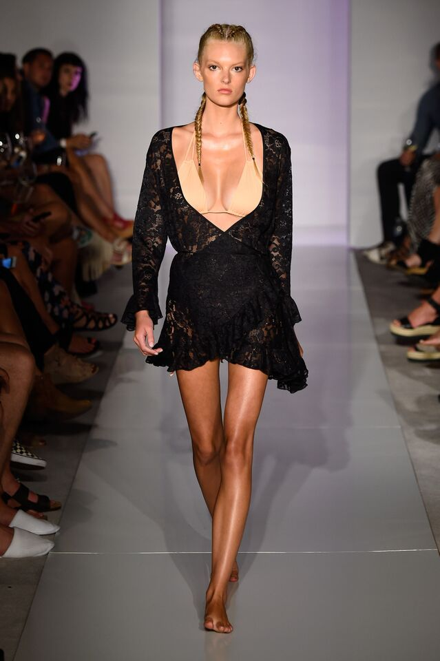 38b386c503 HAH | Hot-As-Hell Miami Swim Week Catwalk - Kaitlyn Dorman in the NAKED  TRUTH TRICK-INI TOP & NOIR #HAHT LACE KIMONO
