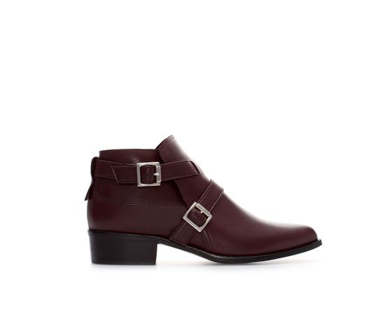 4ced0144005 LEATHER ANKLE BOOT WITH BUCKLES from Zara | fall style | Zara ankle ...
