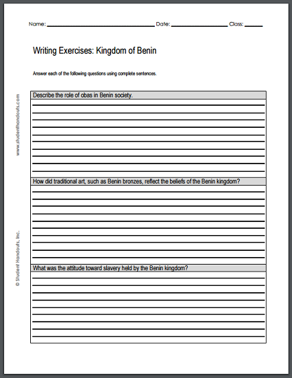 kingdom of writing exercises worksheet is to print  african civilizations writing exercises two worksheets each three essay questions to print pdf files