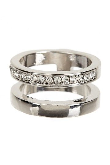 Sparkling Silver Stack Band Ring