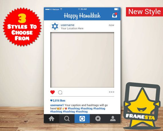 Happy Hanukkah Instagram Frame (Digital File) Hanukkah Decorations ...