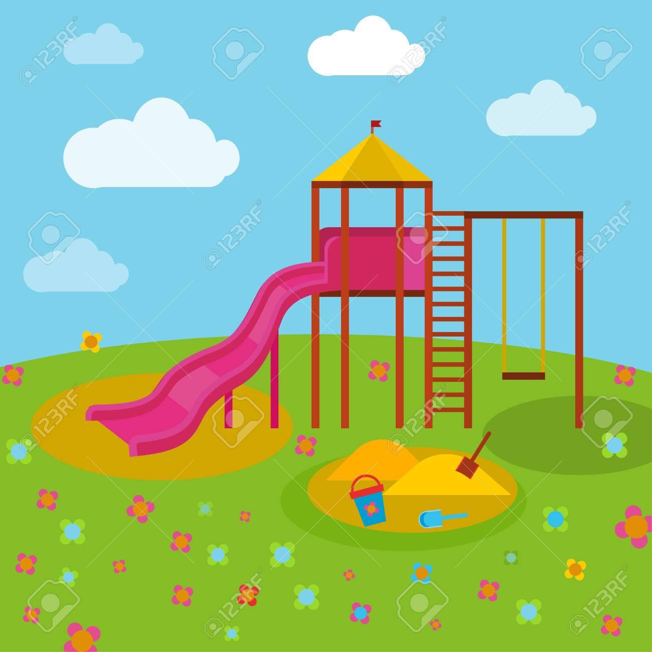 Hermoso Parque Infantil Ilustracion Del Vector En Colores Azules Verdes Amarillos Y Anaranjados Brillantes En E Parques Infantiles Estilos De Dibujo Parques