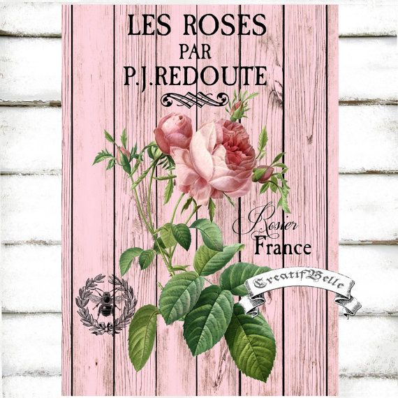 Vintage French Les Roses Large A4 Instant Digital by CreatifBelle