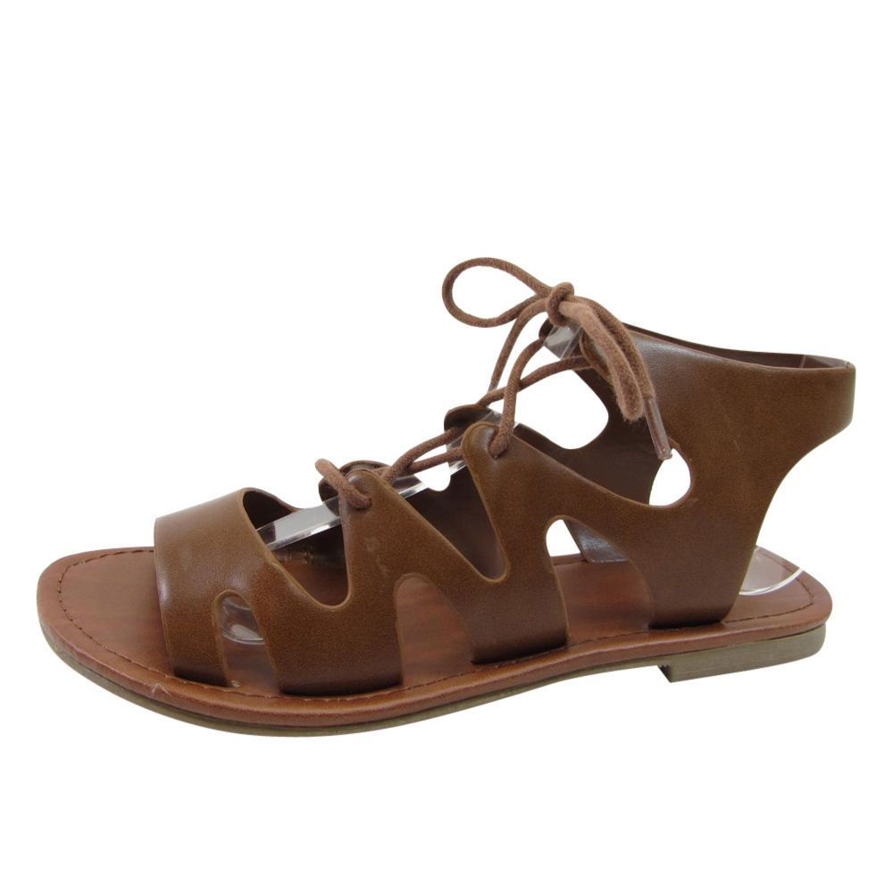 f93563820 Soda Ib54 Women S Strappy Lace Up Cutout Back Gladiator Flat Sandals In Box