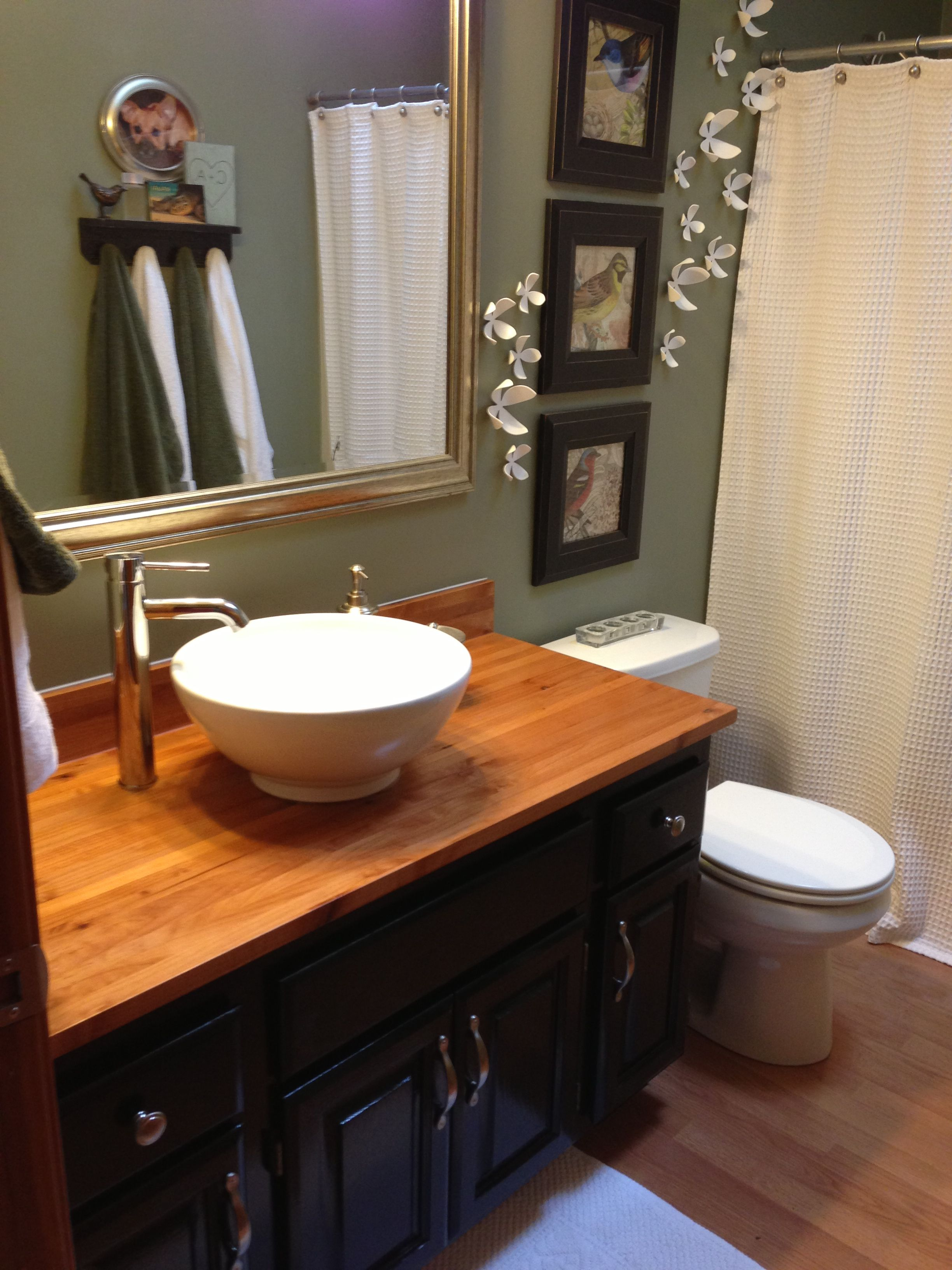 New Butcher Block Countertop With Vessel Sink I Painted The