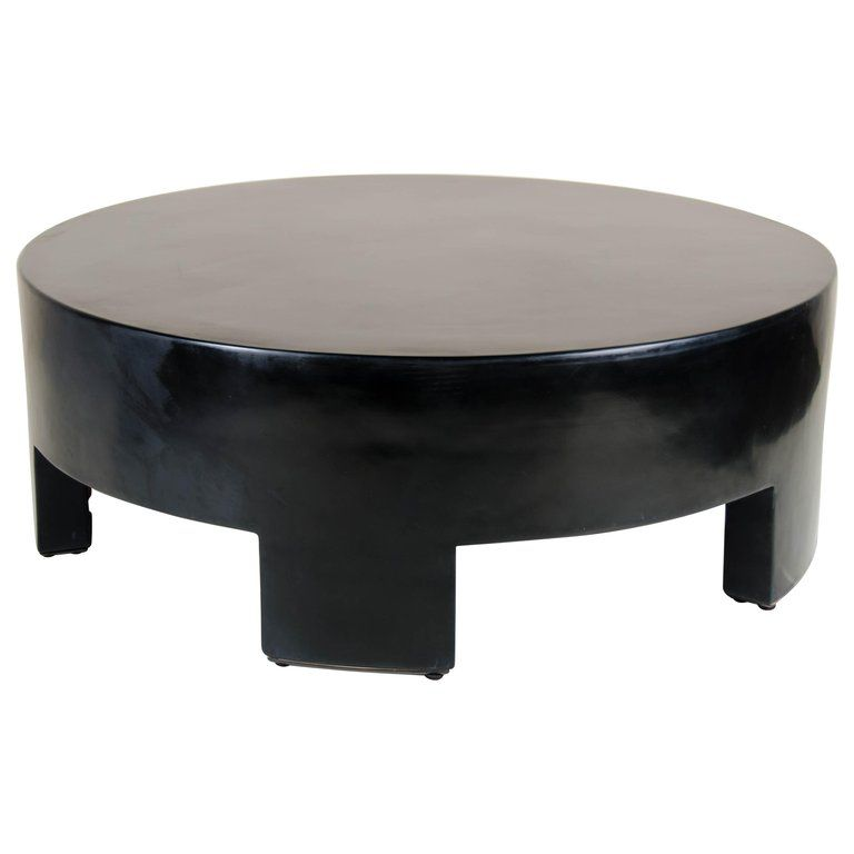 Low Round Table Black Lacquer By Robert Kuo Limited Edition