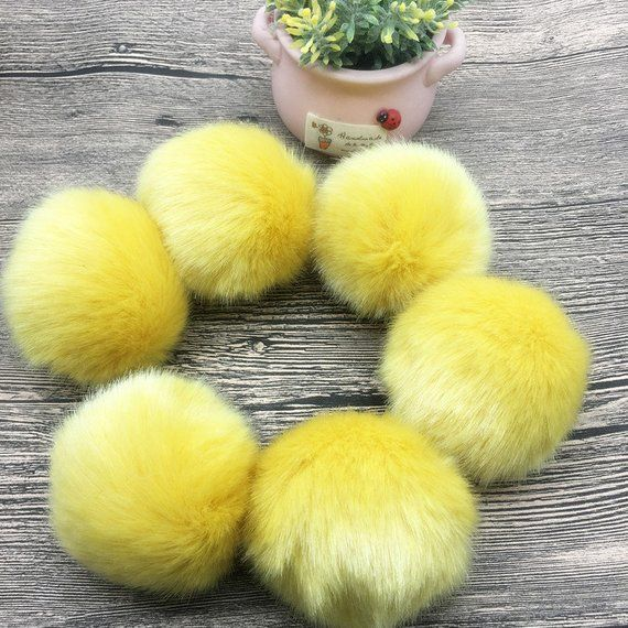 5 Stück Mango Gelb Kunstkaninchenfell Pom Poms, 6 8 10m Schöne Kunstpelz Pompons, Für Häkelstrickmütze, Pompon Schlüsselbund Schuhclips DIY   – Products
