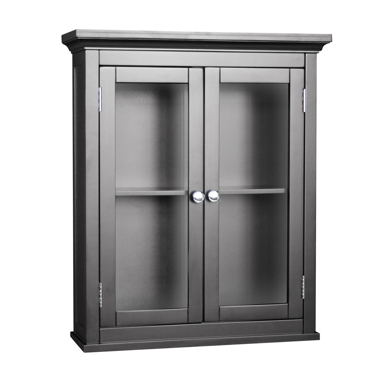Dark Espresso Bathroom Wall Cabinet W2 Glass Doors Adjustable