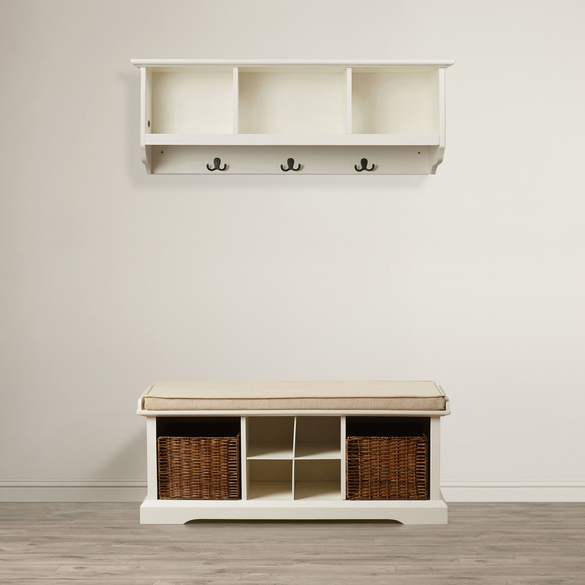 selbyville entryway storage bench and shelf set