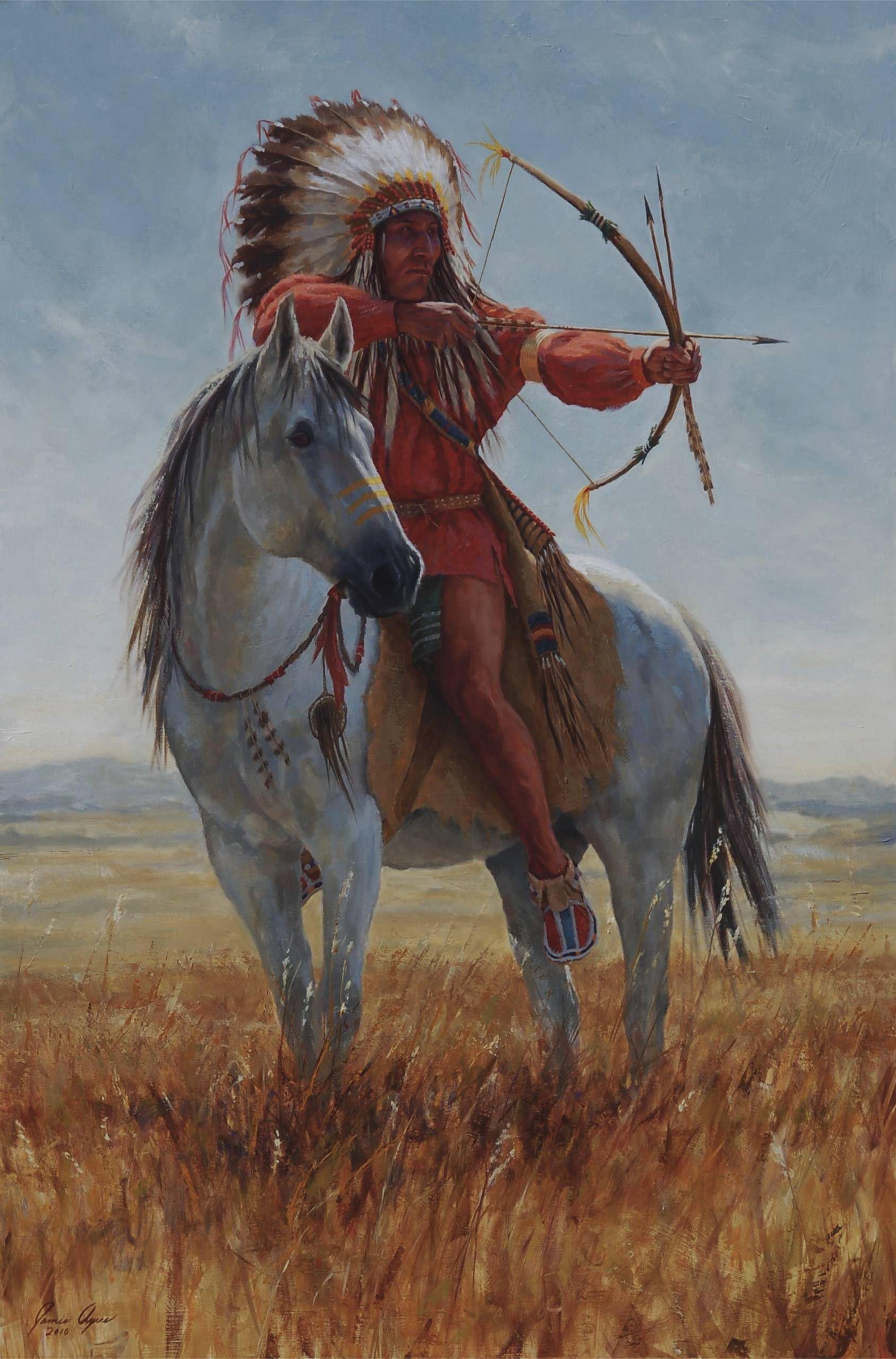 Western American Indian Warrior Paintings | Available Paintings Taking Aim – James Ayers Studios                                                                                                                                                                                 Más