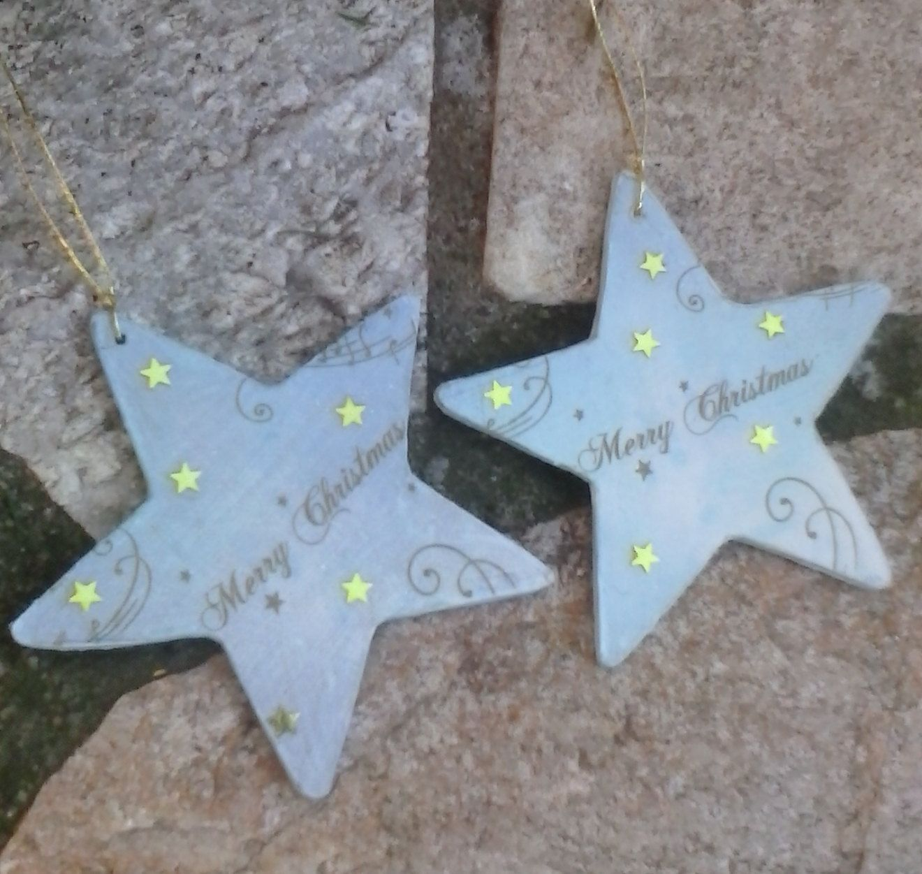 Marry Christmas Wooden Tags, Christmas Tree Star Ornament, Decoupage  Ornaments, Golden Stars By