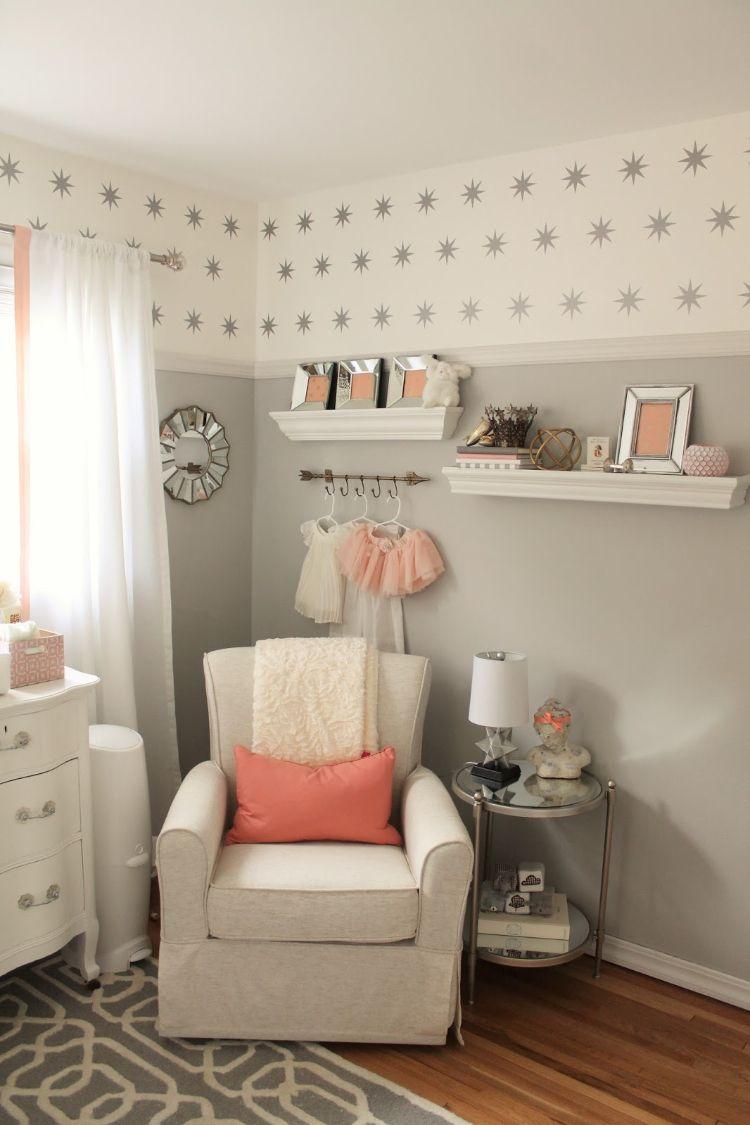 Einrichtungsideen Babyzimmer Grau Rosa Weiss Sterne Wand