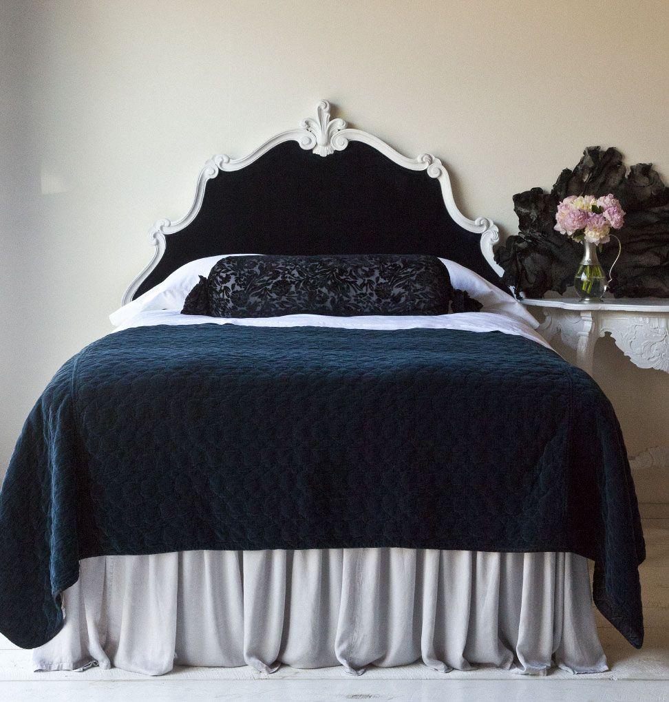 teal velvet coverlet Blue bedroom decor, Shabby chic bed