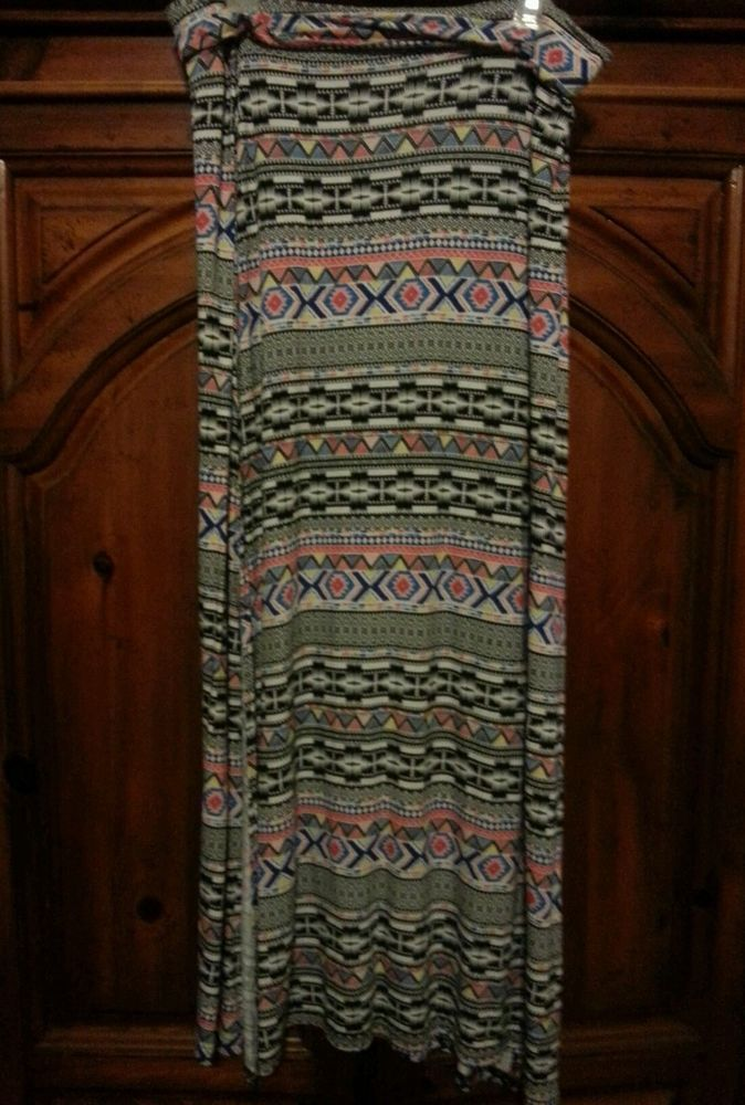 Charlotte Russe Tribal Print Double Slit Long Maxi Skirt Sz XL Sexy & summery! #CharlotteRusse #Maxi