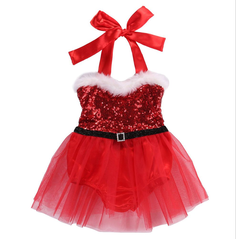 Newborn Baby Girl Red Sequin Santa Claus Tutu Rompers Jumpsuit