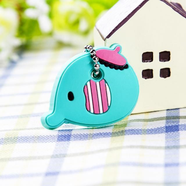 d7427bf5e96f Anime Silicone Cat Key Cap Minion Key Chain Women Bag Charm Key Holder  Stitch Key Ring