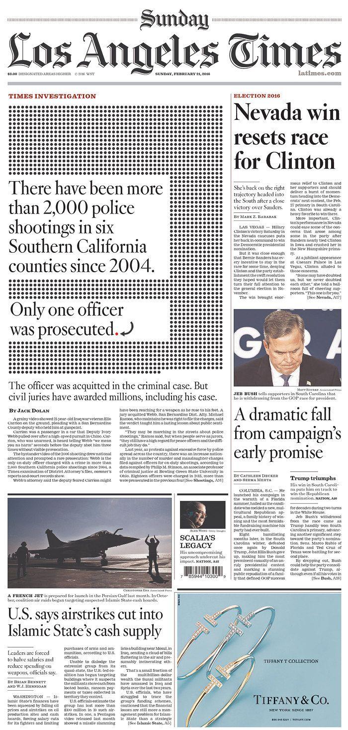 Los Angeles Times 2 21 16 Via Newseum Newseum Newspapers Los Angeles
