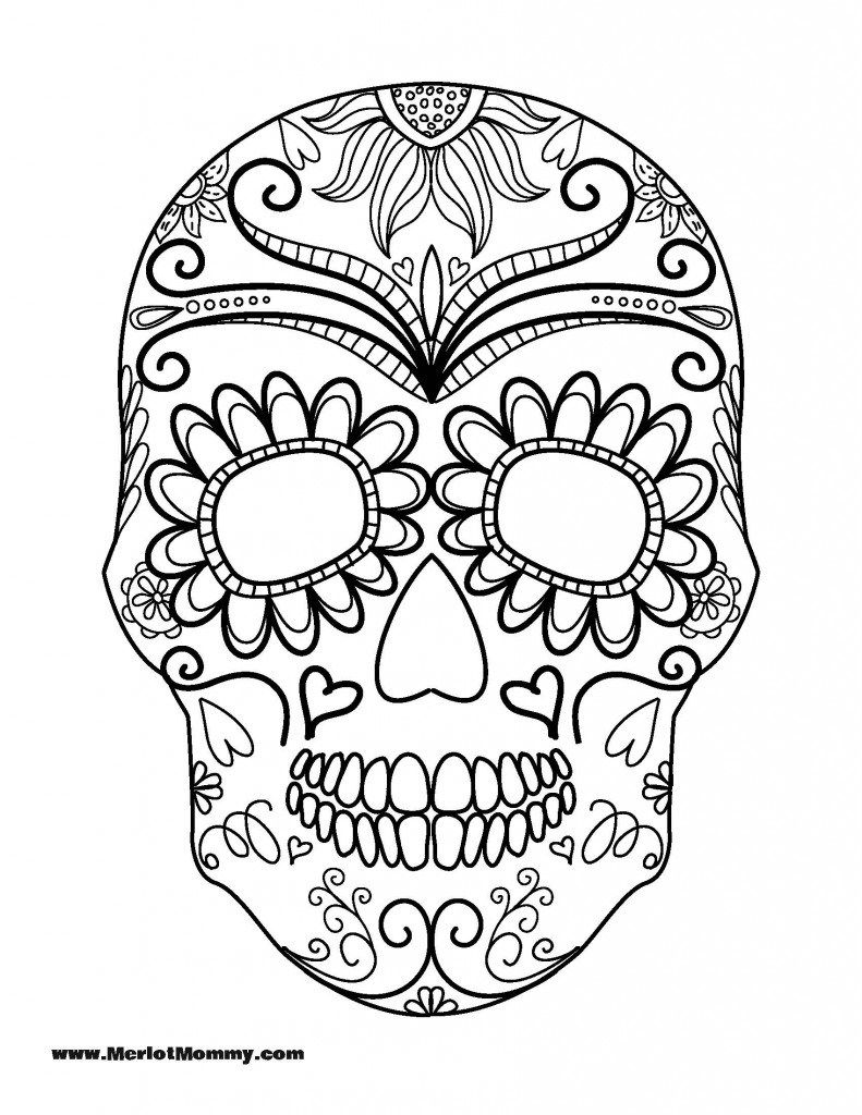Click here to download the pdf for the sugar skull for Day of the dead skull mask template
