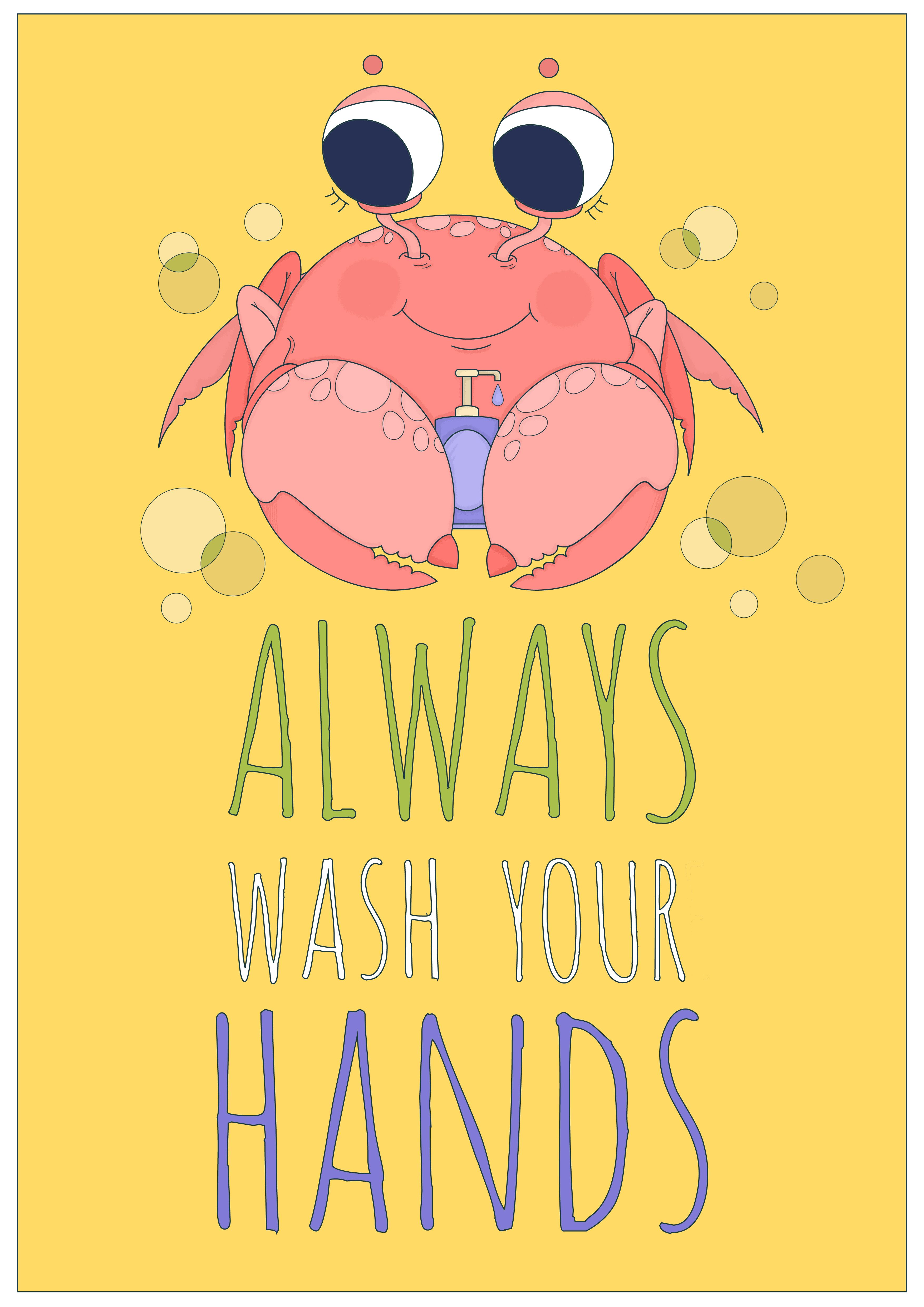Bathroom Poster For Children Portraying A Funny Crab With Bottle Of Liquid Soap And