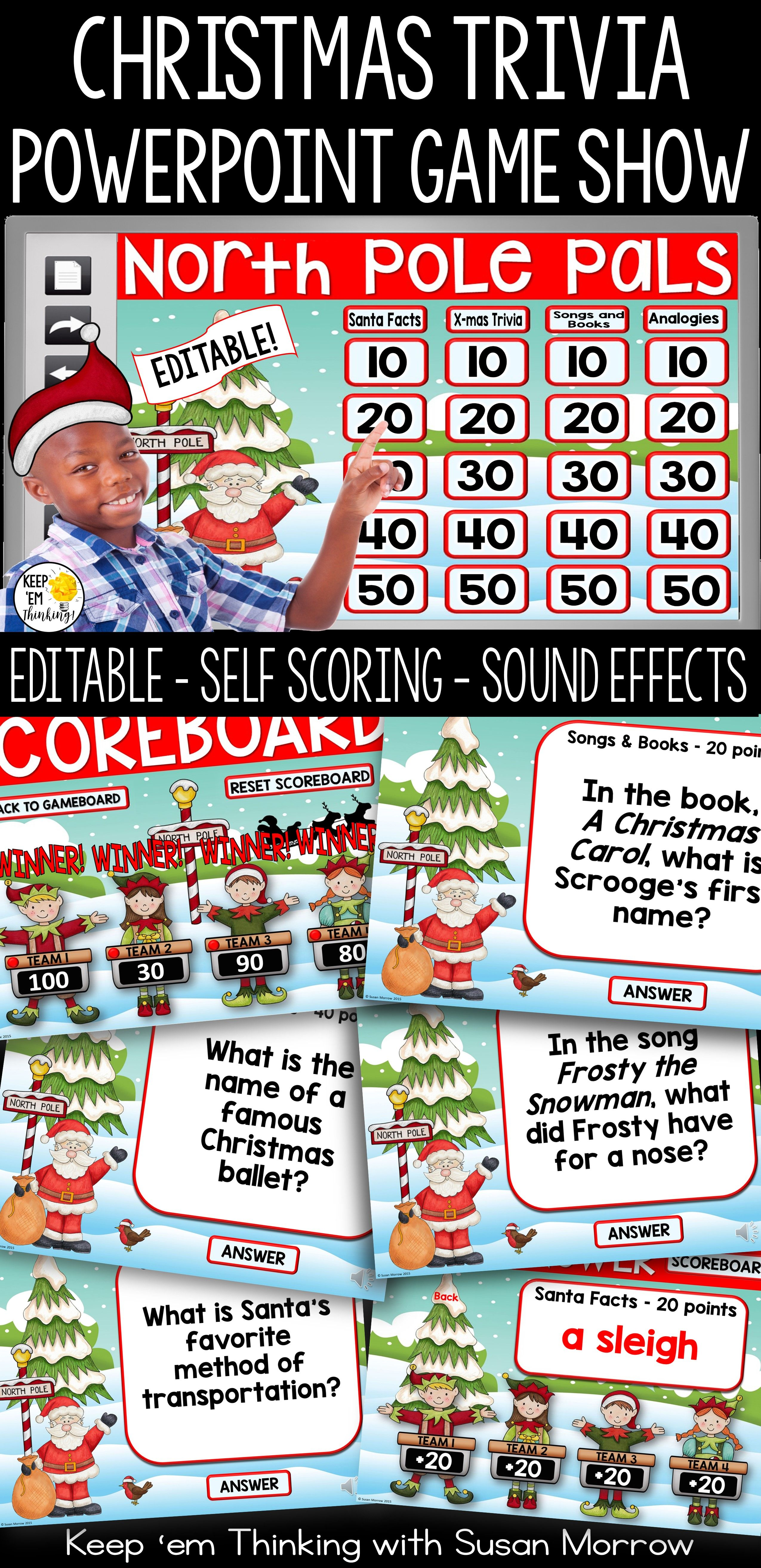christmas trivia game a powerpoint jeopardy style game show editable christmas trivia games trivia games and trivia - Christmas Jeopardy Game
