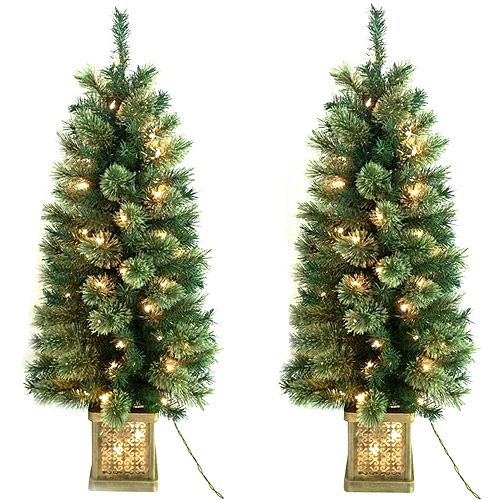 holiday time pre lit 4 topiary christmas trees in pots 2 pack clear lights