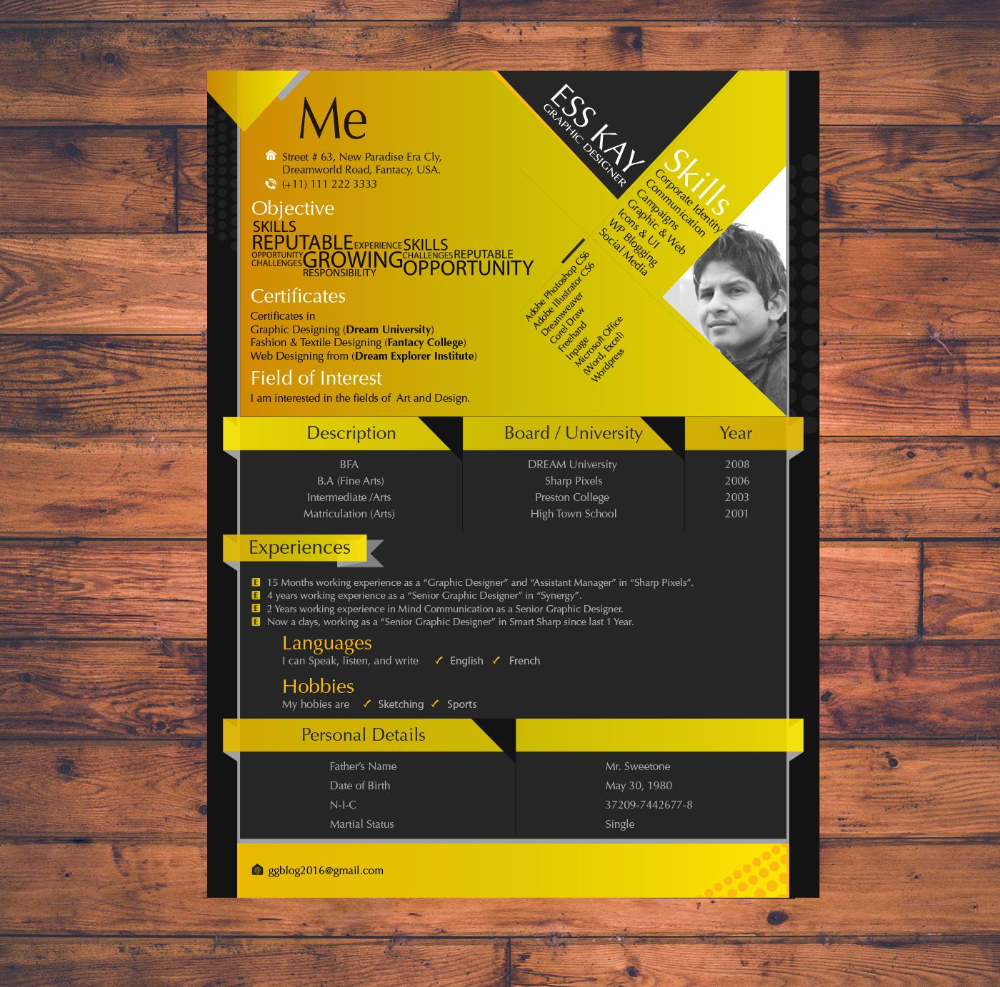 FreeModernResumeTemplateDesignForGraphicDesigners  Graphics