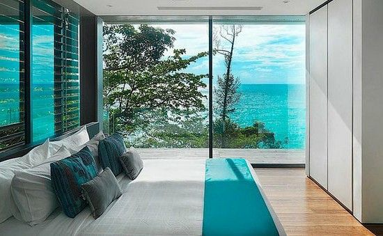 Cottage beach of bedroom in shades of sea