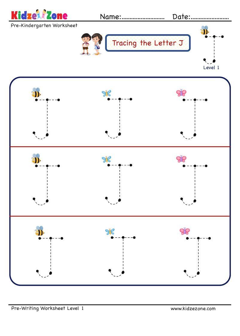 Preschool Letter Tracing Worksheet Letter J Big Font Kidzezone In 2020 Preschool Letters Letter Tracing Worksheets Tracing Worksheets