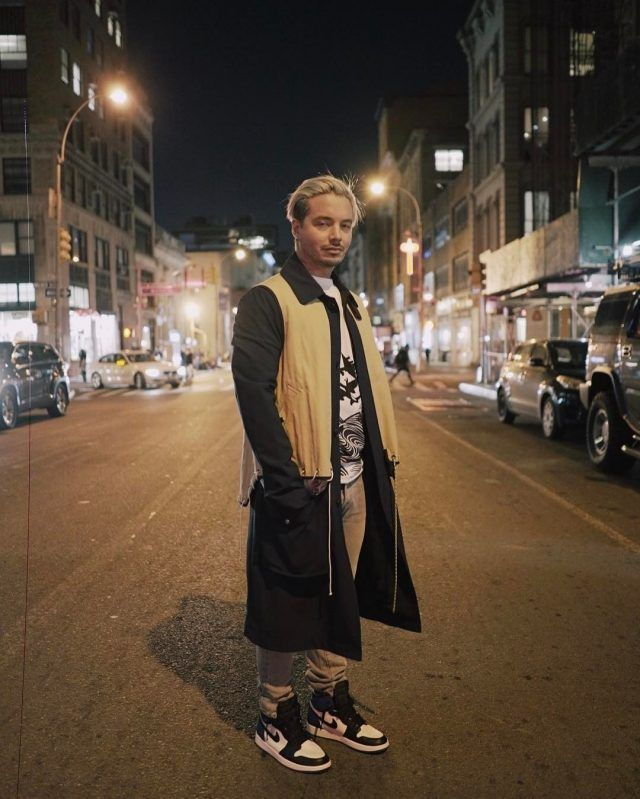 J Balvin Wears Tim Coppens Coat and Air Jordan x Fragment Sneakers During  New York Fashion Week  f783509ef53