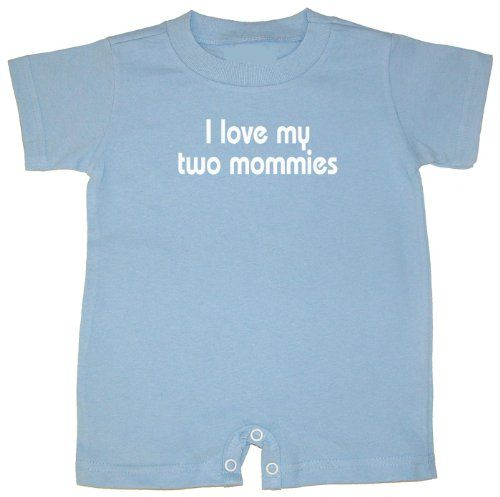 Baby Romper I Love my Gay Uncle I love my 2 mommies, I love my two mommies - Blue, 18 months