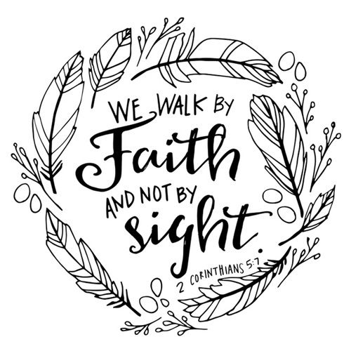 We Walk By Faith Handlettered Coloring Coloring Canvas Coloring Canvas Bible Wall Art Bible Verse Coloring Page