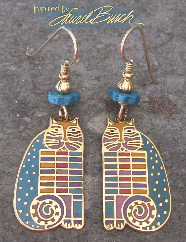 "Inspired+By+Laurel+Burch+VTG+1990's+""RAINBOW+CAT+COUSINS""+Cloisonne+Earrings+#LaurelBurch"