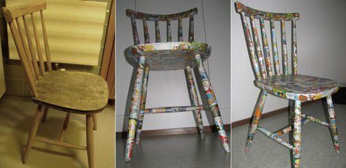 Laura muokkasi vanhasta jakkarasta hauskan Aku Ankka -tuolin.