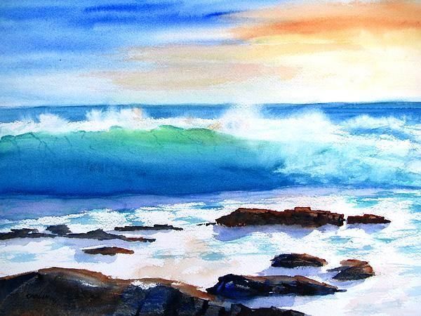 Abstract Acrylic Beach Painting Sand Waves Blue Ocean Clear