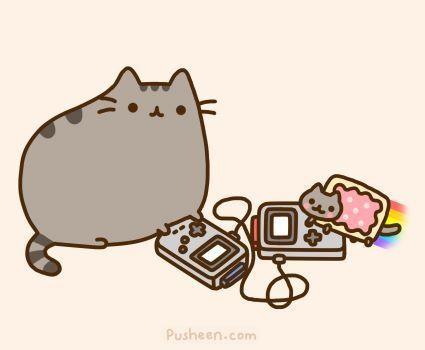 Nyan cat vs Pusheen, Game Boy style. Either Pusheen Cat is