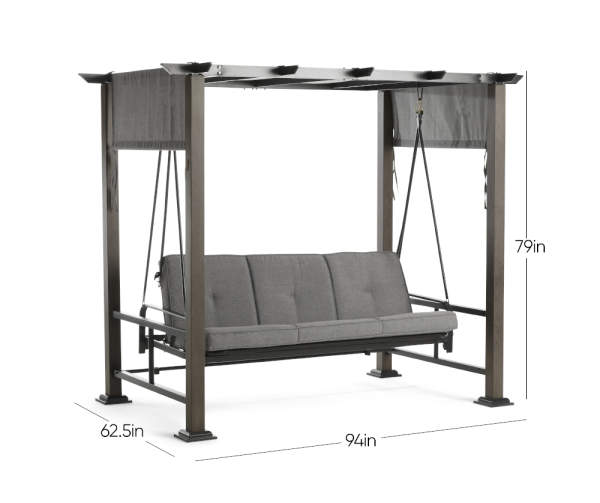 Broyhill Patio Pergola Cushioned Daybed 3 Person Swing Big Lots In 2020 Daybed Swing Daybed Canopy Swing