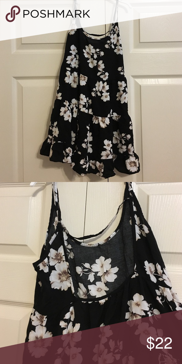 Brandy Melville Jada Dress Black & white floral dress; back cut-out. Barely warn, perfect condition. Brandy Melville Dresses Backless