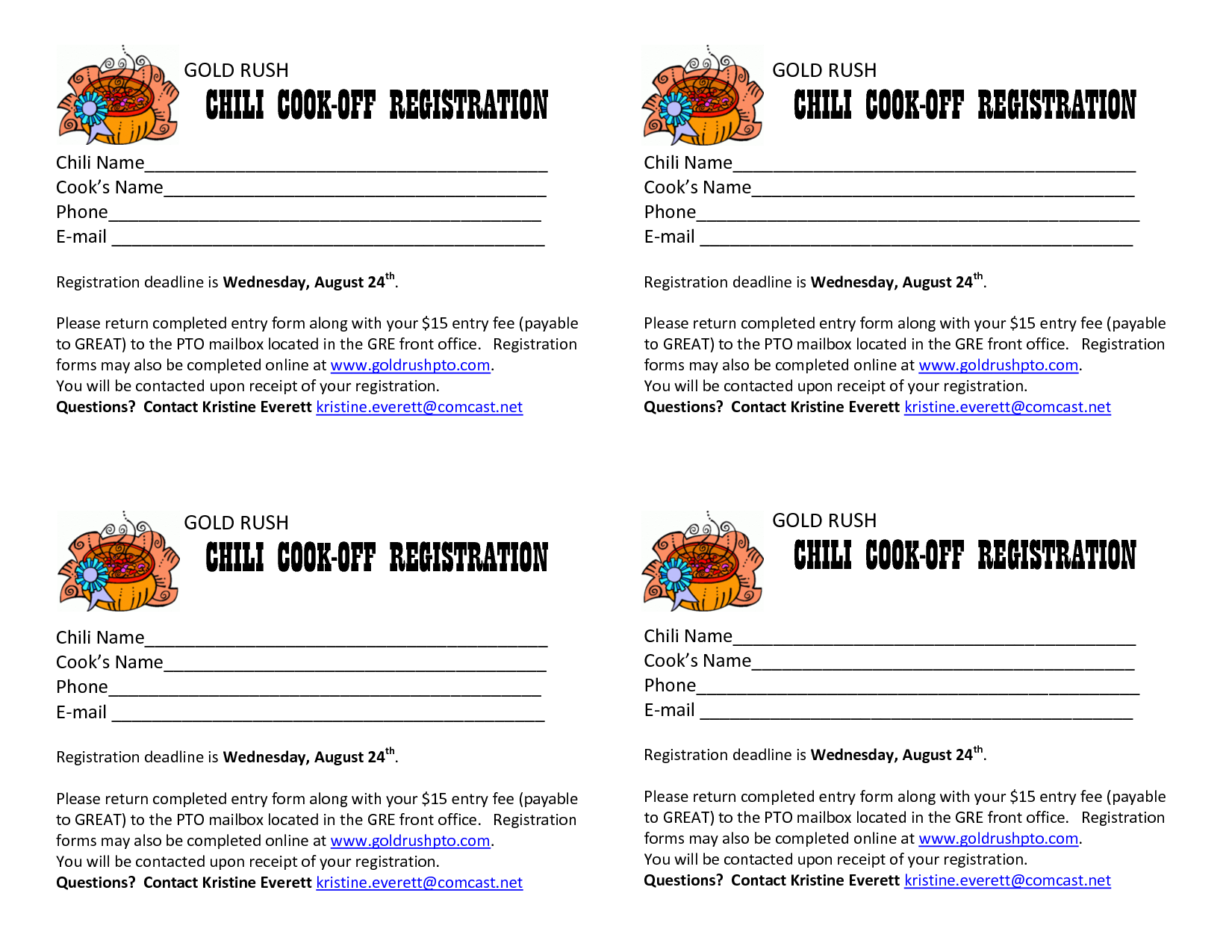 Chili Cook Off Registration Template Google Search Soups In 2019