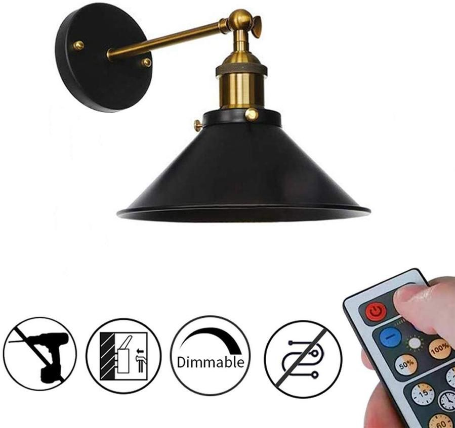 Led Remote Control Battery Operated Wireless Wall Lamp 1pc 2pcs