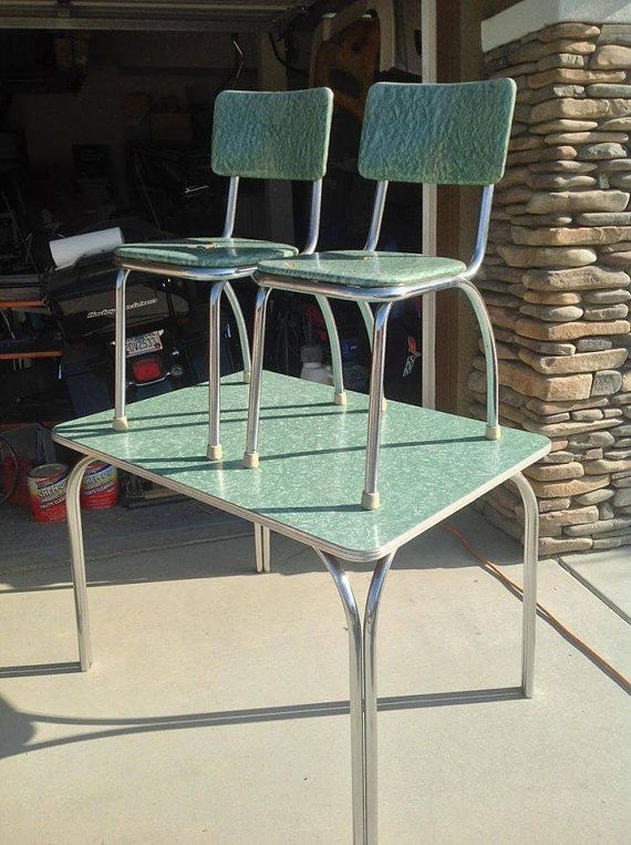 1950 39 s green crackle chrome and formica dinette with 2 for Sedie per tinello