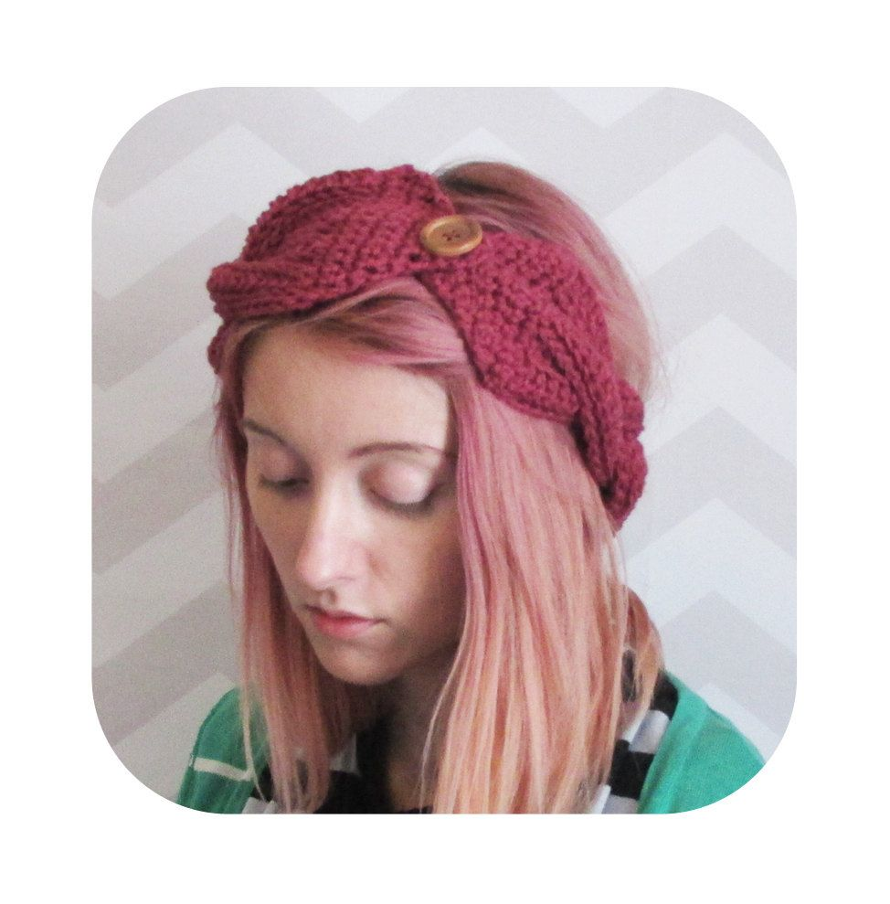 wine maroon dark red turban braid women\'s headband ear warmer ...