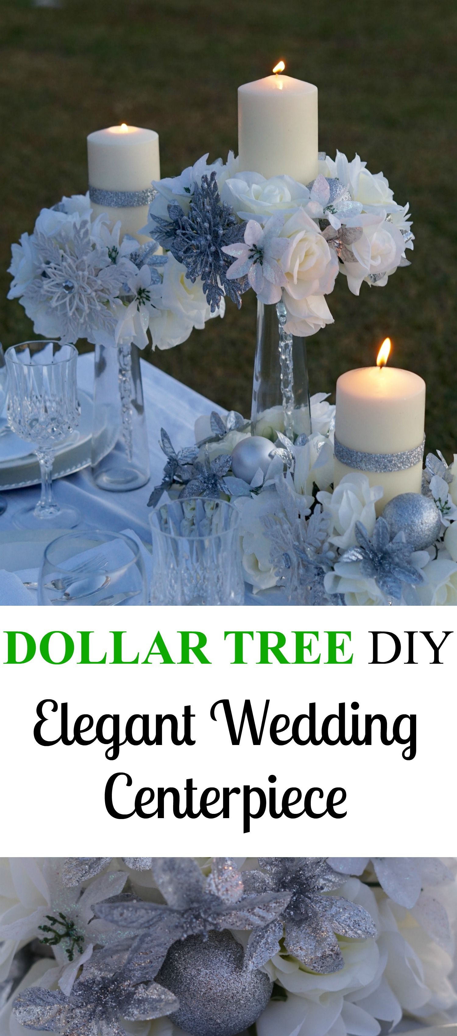 Wedding decorations dollar tree  Elegant Dollar Tree Wedding Centerpiece Perfect For A Winter Wedding